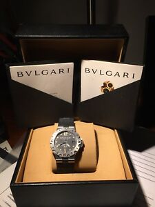 Bulgari Diagono Scuba SD38S Men s Automatic Steel 38mm Rubber Strap ... d1a36709894