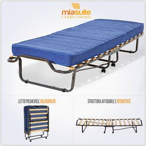 Branda per ospiti pieghevole a 15 doghe con materasso letto singolo ortopedico ebay - Letto pieghevole con materasso ...