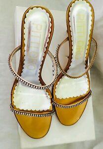 en Sandals à fin strass l'or Chaussures Pitti plates dorées twzZ6q4