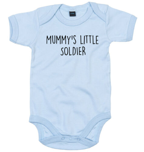 SOLDIER BODY SUIT PERSONALISED MUMMY/'S LITTLE BABY GROW NEWBORN GIFT