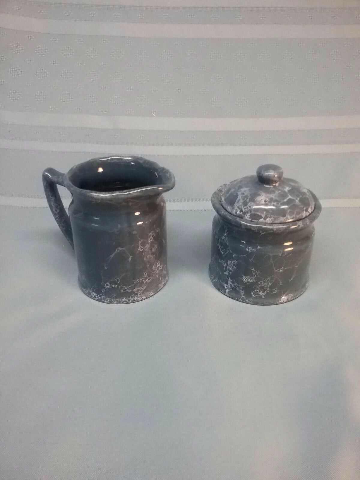 Set of bluee Marble Style Creamer Cream Dish and Sugar Bowl