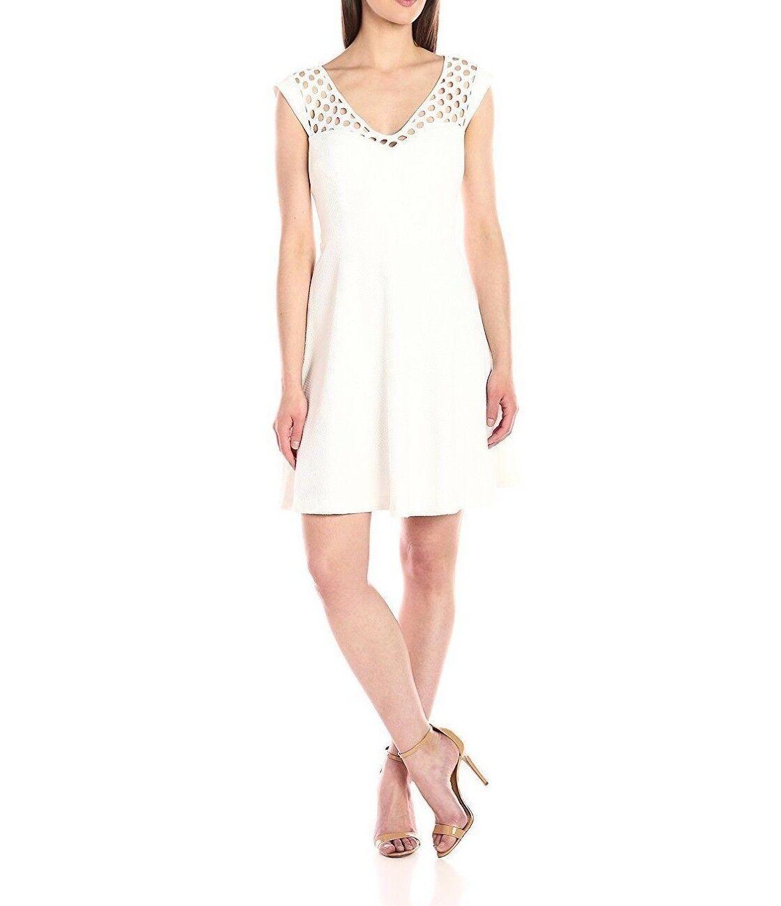 Betsey Johnson Woherren Stretch Jacquard Fit and Flare Ivory Dress - Größe 2    a6