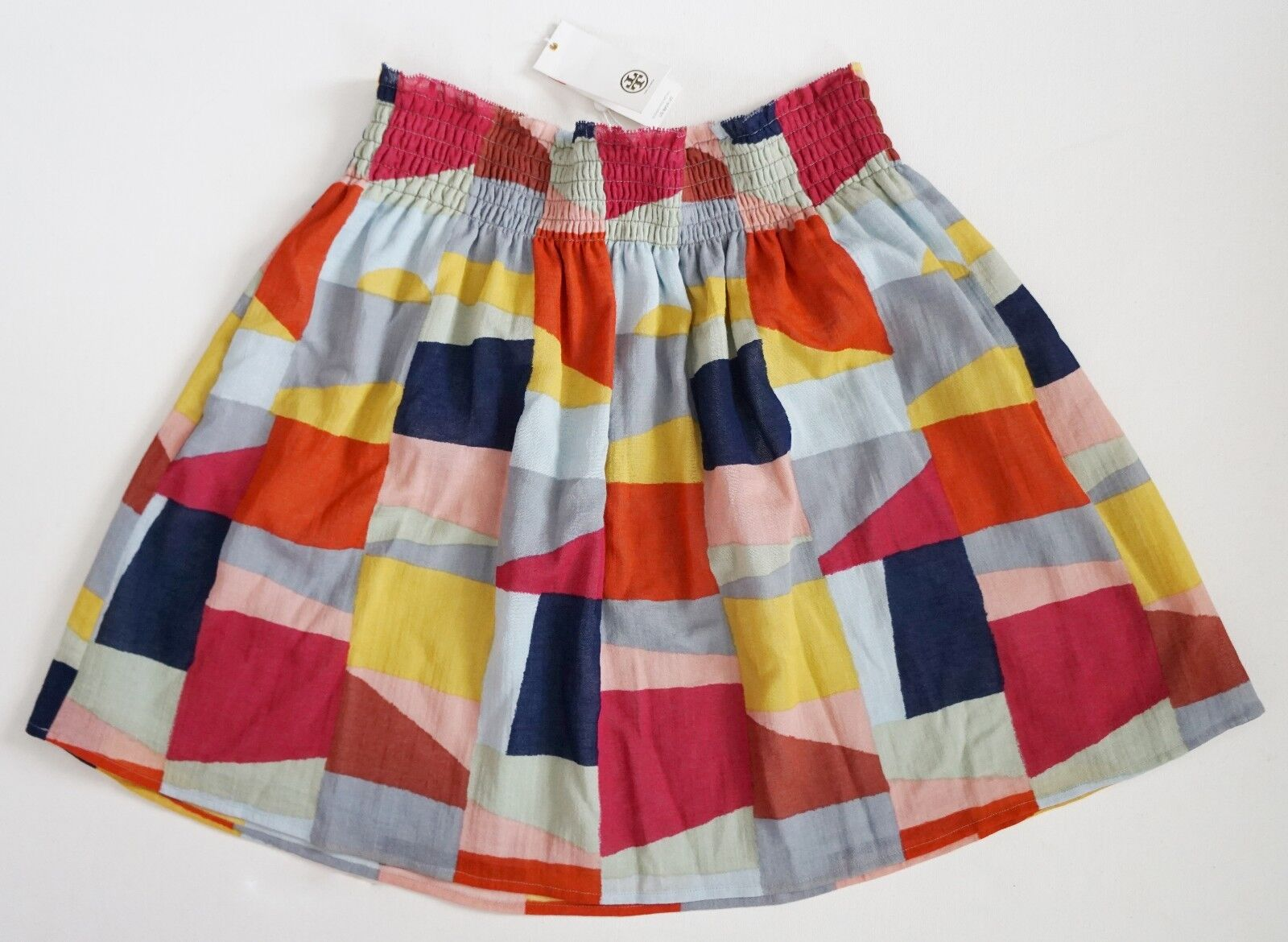 225 NWT TORY BURCH Multi-colord 100% Cotton  TRISTA  PLEATED Skirt L