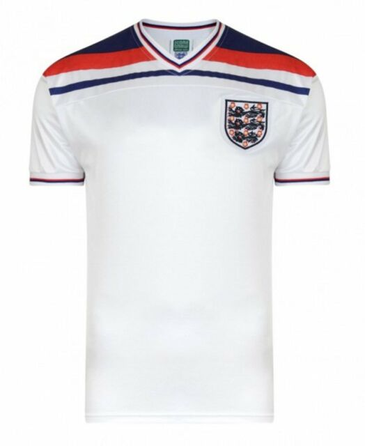 dae86d83793 Score Draw England 1982 World Cup Finals Home Retro Football Shirt ...