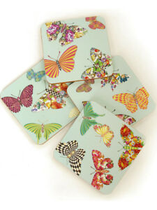 Mackenzie-Childs-BUTTERFLY-GARDEN-SKY-Cork-Back-COASTER-SET-OF-4-NEW-28-m18-1