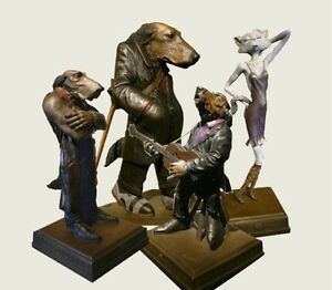 Set-of-Four-Lonely-Dog-Weta-workshop-created-Limited-Edition-Bronze-Sculptures