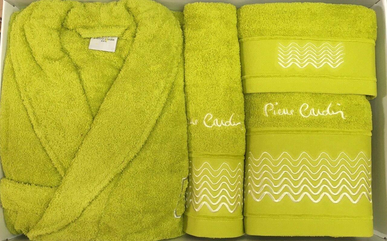 Pierre cardin l/xl 4 pièce peignoir serviette set lime vert pomme 100% coton | La Plus Grande En Matière De Commodité