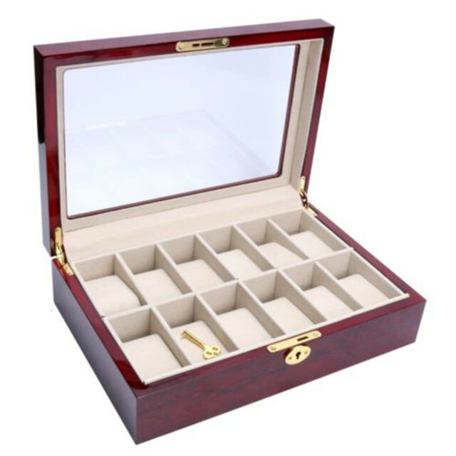 Jewelry Boxes Wooden Watch 12 Slots Display Clear Top Case Organizer