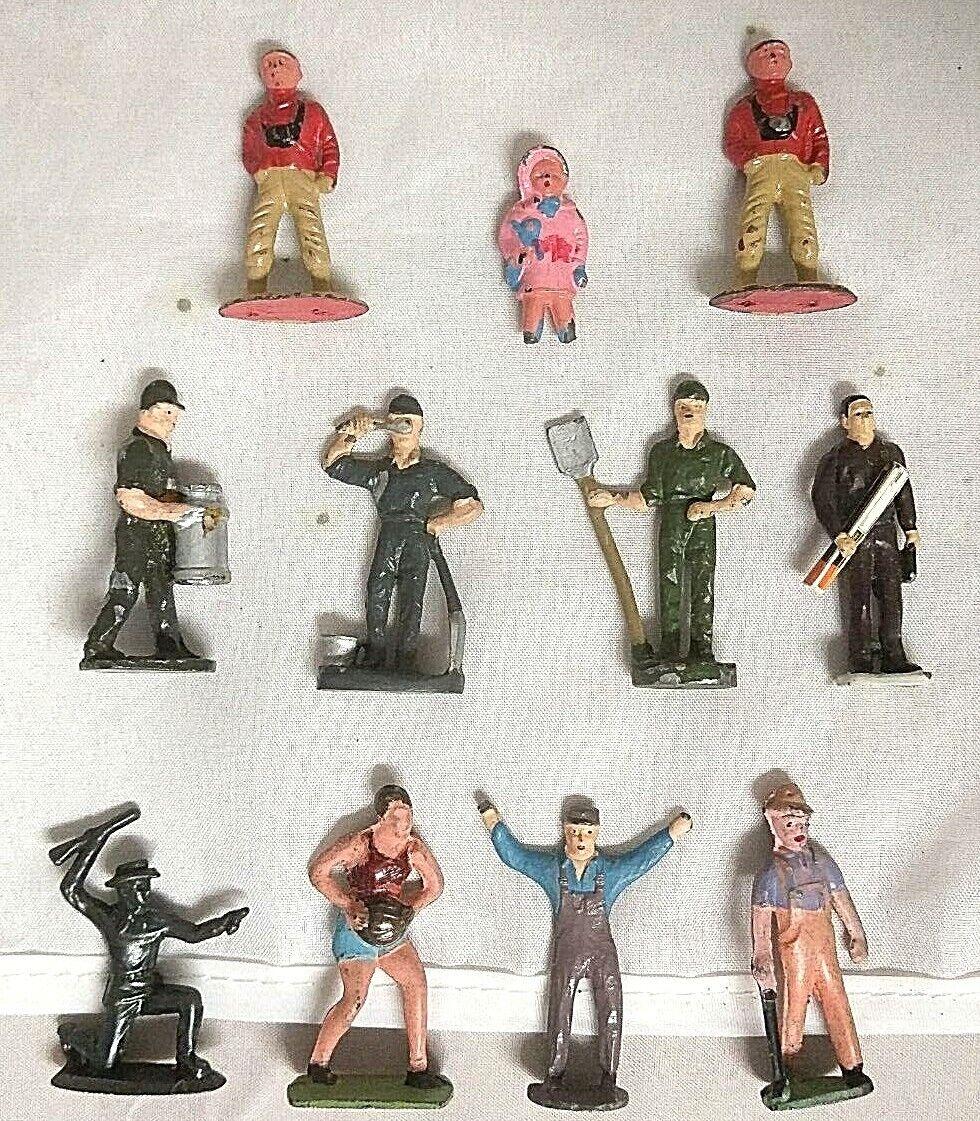 11 Vintage Die Cast Figures For Your Layout  Workman, Cowboy etc.