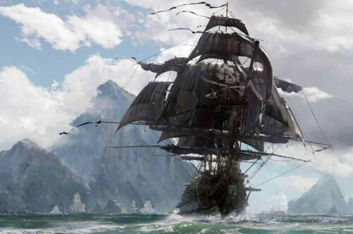 Home Artwork Wall Decor Pirates Ship Vintage Oil painting Printed on canvas Ⅵ