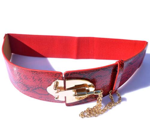 AU Fashion Golden Buckle Chain Faux Snakeskin Women High Waist Stretch Belt 318