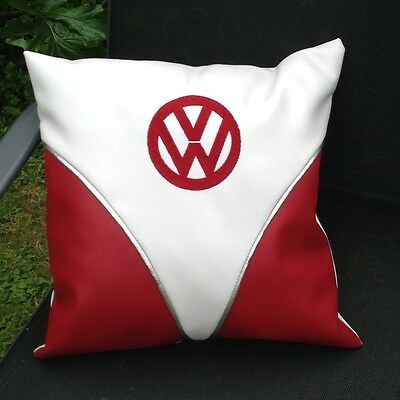 VW Camper Bus Faux Leather Embroidered Cushion Cover 16""
