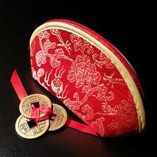 Rojo Chino Monedero Con 3 atado Lucky Monedas Chinas interior: la Riqueza, Feng Shui