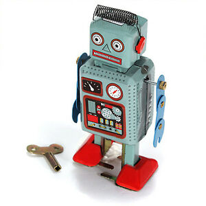 Vintage-Mechanical-Clockwork-Wind-Up-Metal-Walking-Radar-Robot-Tin-Toy-Kids-EP