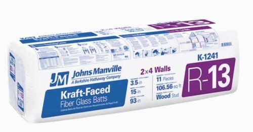 Johns Manville R-13 106.56-sq ft Faced Fiberglass Batt Insulation 15-in W x 93