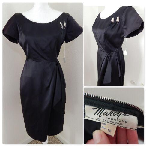 1940 True Vintage Dress~Jet Black Satin Draped Eve