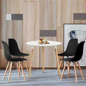 Détails sur Table à Manger Ronde Blanc scandinave en bois hêtre massif et  4er Noir chaises