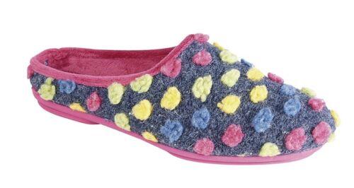 Pink or Blue SLEEPERS AMY Ladies Spotted Knit Mule Slippers Memory Foam Sock