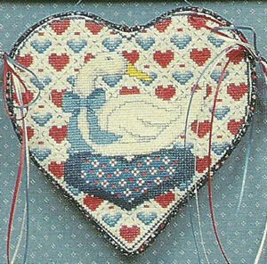Amanda-Goose-Cross-Stitch-Pattern-Leaflet-Hearts-Welcome-Sampler