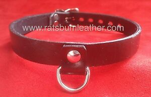 Red Leather SWIVEL D-Ring Leather Bondage restraint Collar choker slave RATS BUM