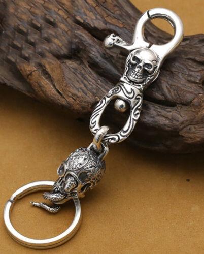 925 Sterling Silver Skull /& Snake Punk Rétro Porte-clés Porte-clés Keychain Clip