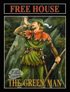 MANCAVE THE GREEN MAN TRADITIONAL ENGLISH METAL PUB SIGN HOME BAR DECOR