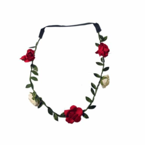 Boho Ladies Floral Fabric Rose Flower Wreathe Garland Festival Hair Head Band