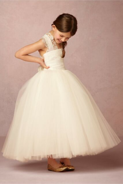 865a7ffc472 BHLDN Amalee Ivory Hattie Lace Tulle Very Full Wedding Flower Girl Dress Sz  4