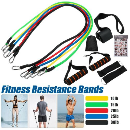 11Pcs Fitness Resistance Bands Exercise Workout Bands Elastic Pull String Sport