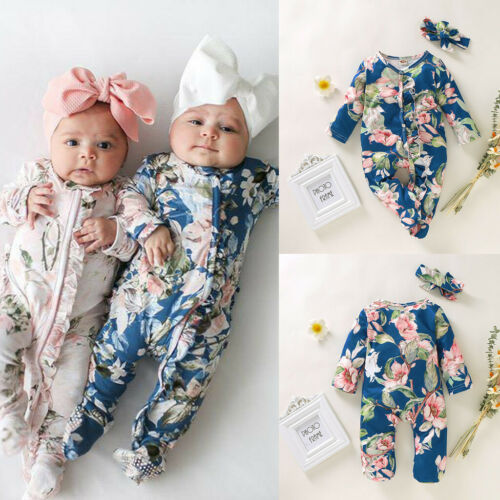 Newborn Infant Baby Girl Boy Footed Sleeper Romper Headband Floral Print Outfits