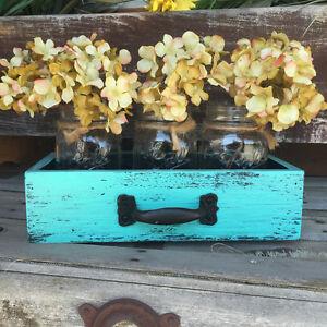 Wood Drawer with 3 Mason Canning Jar Centerpiece HANDMADE Reclaimed Decor Yellow