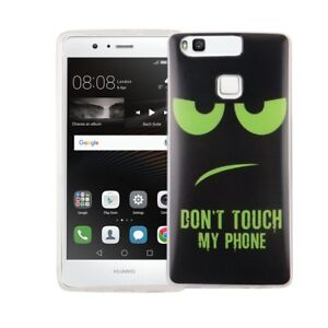 Case-for-Huawei-P9-Dont-Touch-Green-Case-Cover-Motif-TPU-Bumper-NEW