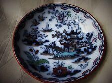 ANTIQUE ORIENTAL FLOW BLUE HANDPAINTED TEA BOWL RUST RIM CHARLES MEIGH HONG 1845