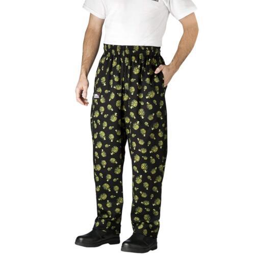 New Chefwear Men/'s 100/% Cotton Baggy Chef Pants Black with Artichoke S-5XL