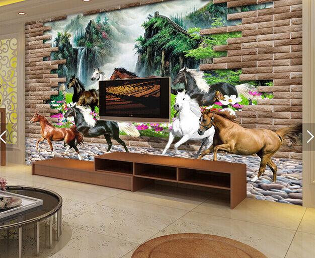 3D Laufende Pferde 327700 Fototapeten Wandbild Fototapete BildTapete FamilieDE