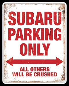 SUBARU METAL PARKING SIGN RUSTIC STYLE car tin shed garage workshop