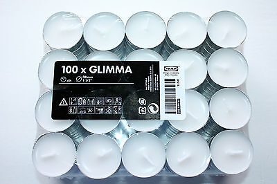10/ 20/ 40/ 50/60/80/ 100 IKEA tealight unscented candles~ GLIMMA~ FREE SHIPPING