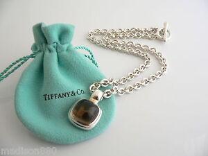 Tiffany co silver smoky quartz gemstone toggle necklace pendant image is loading tiffany amp co silver smoky quartz gemstone toggle mozeypictures Image collections