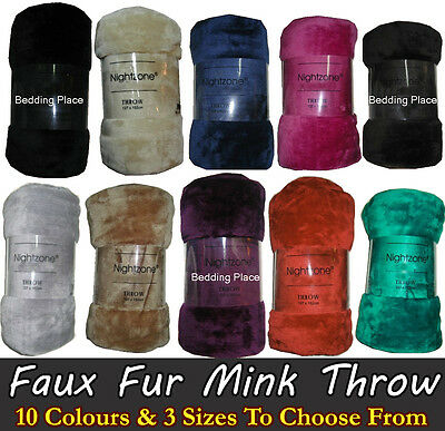 Faux Fur Mink Blanket Sofa Bed Throw Single Double & King Size Mink Fur Throw