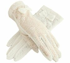 Urban CoCo Vintage Summer Lace Bowknot Short Dress Gloves Wedding Gloves White