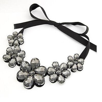 Fashion Black Crystal Statement Jewelry Chunky Pendant Chain Bib Choker Necklace