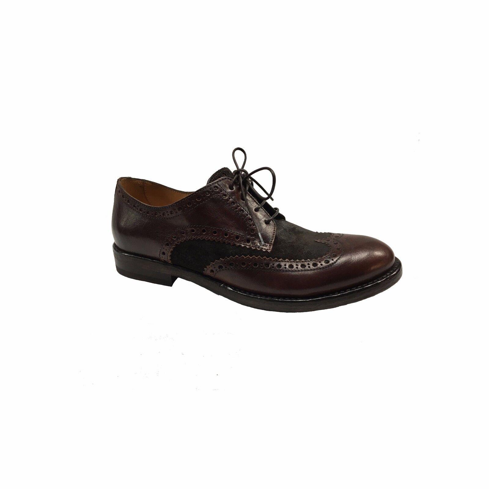 SEBOY'S scarpa moro uomo allacciata 100% pelle mogano e camoscio moro scarpa MADE IN ITALY 14216c