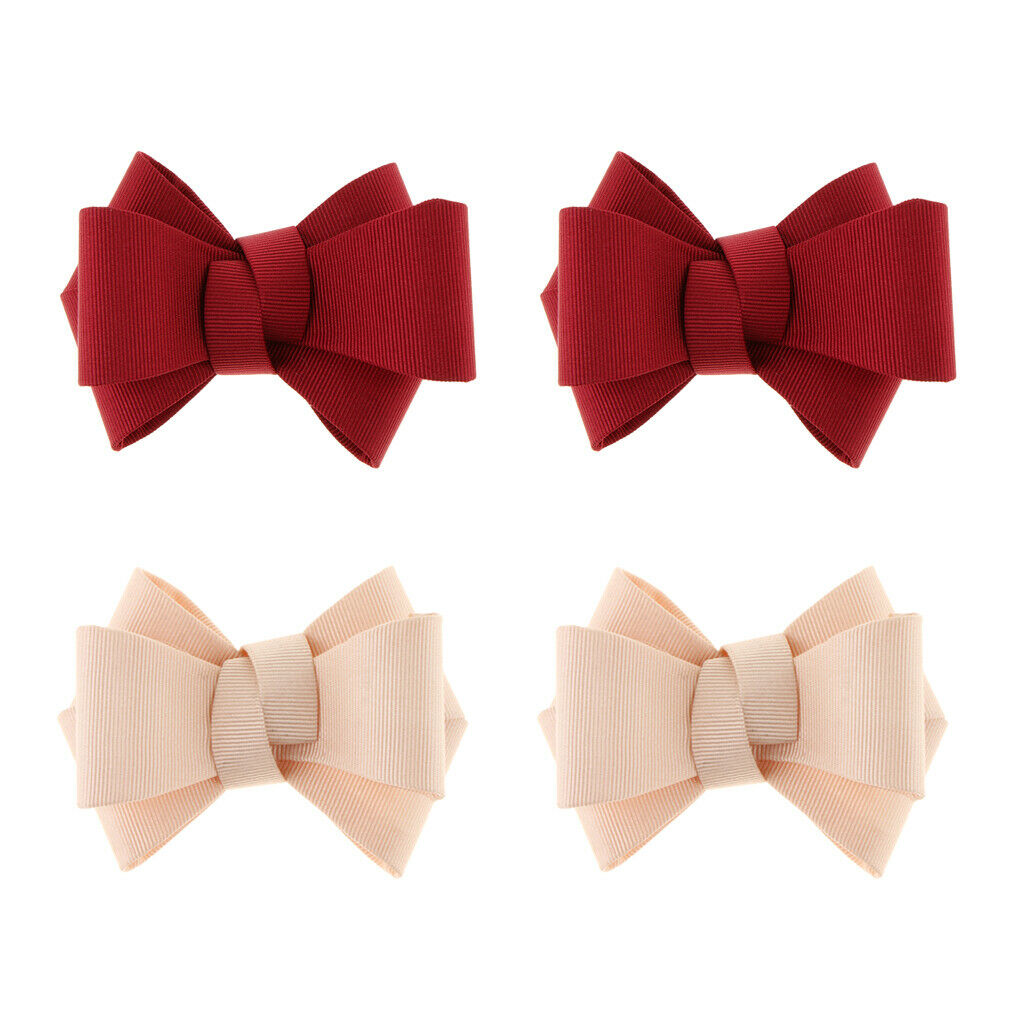 4Pcs Simple Ribbon Bow Decorative Shoe Clips Party Prom Shoe Charms Buckle