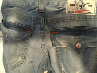 True Religion Brand Jeans Straight 33 $198 Designer Blue Stonewash Men R100F7