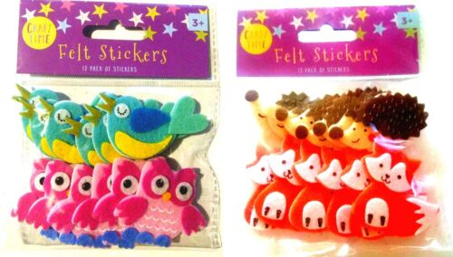Felt Stickers 12 Pack of Stickers Owl Bird Fox Hedgehog Craft Time Forest