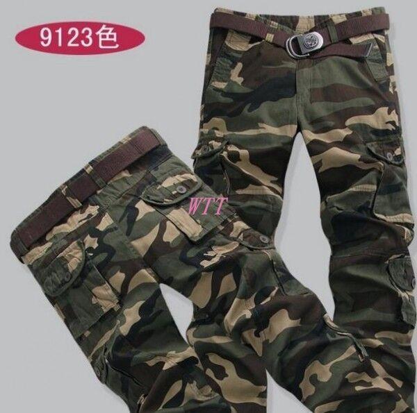 New Men's Combat Arm Military Camouflage Cargo Trousers Cotton Camo Pants Size