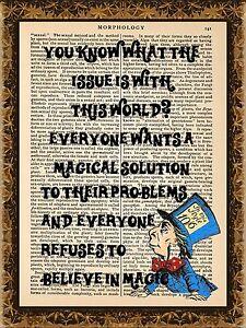 Upcycled-Art-Print-on-Vintage-Antique-Book-Page-Mad-Hatter-Alice-In-Wonderland