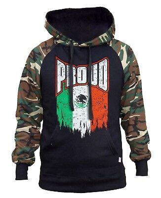 Men/'s Proud Mexico Flag Camo Raglan Sweatshirt Mexican Pride Aztec Seal Mayan