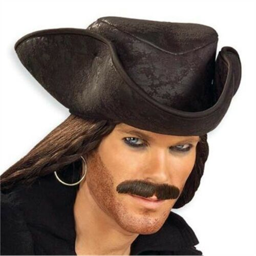 Black Distressed Pirate Hat Fancy Dress Tricorn Accessory Jack Sparrow