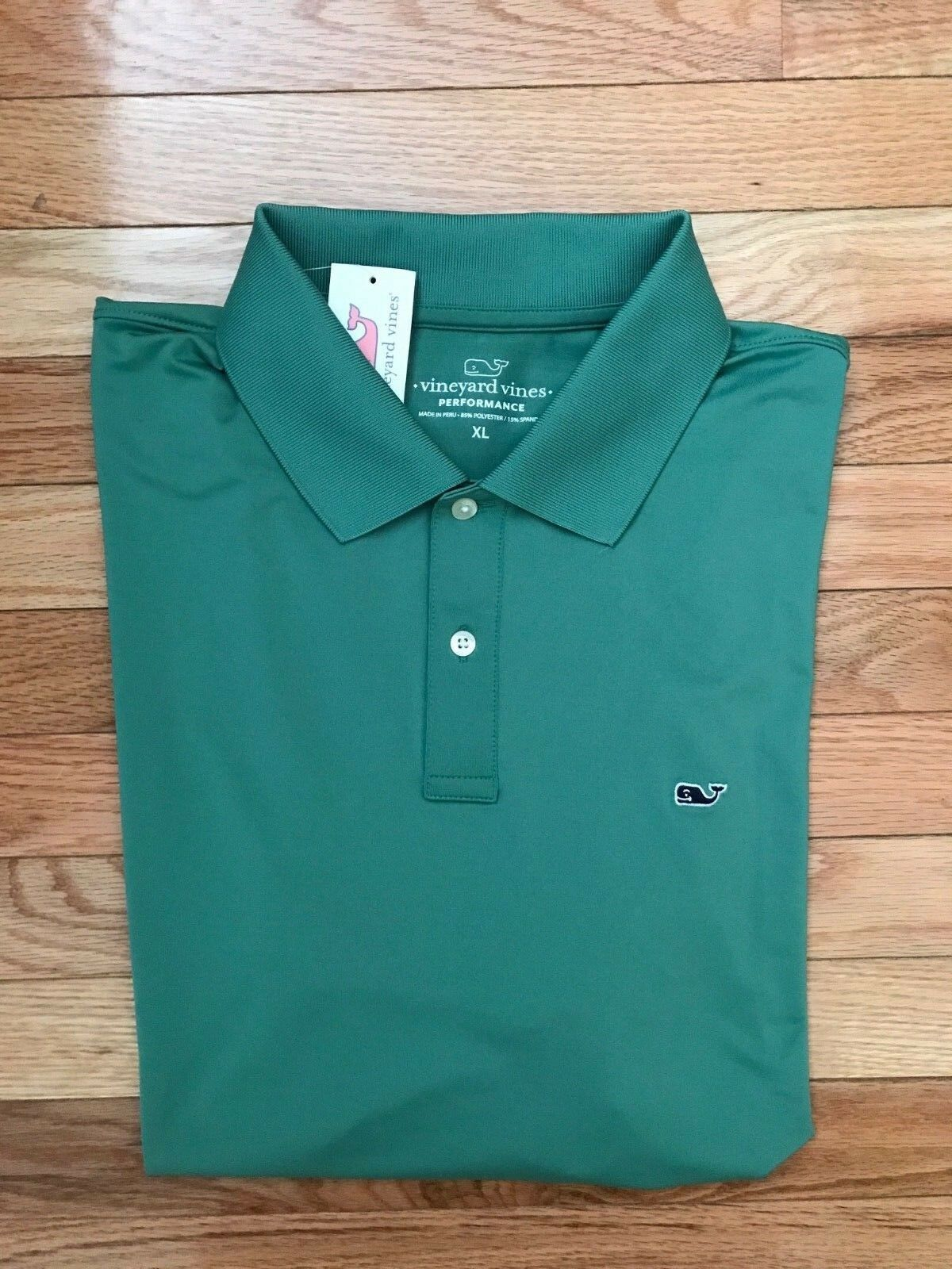 NWT Vineyard Vines Starboard Green L S Slim Fit Performance Polo  A99